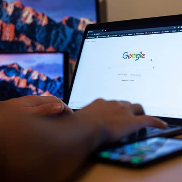 google search engine on macbook screen
