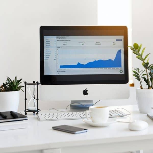 marketing agency data on imac screen